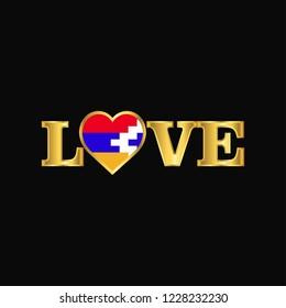 Golden Love typography Nagorno Karabakh Republic flag design vector