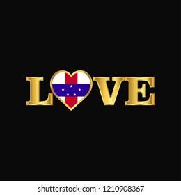 Golden Love typography Netherlands Antilles flag design vector