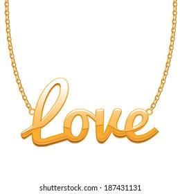 Golden LOVE word pendant on chain.