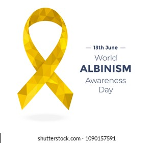 Golden low poly albino awareness ribbon, devoted to World Albinism Awareness Day isolated on white. Vector illustration for banners, flyers and cards.