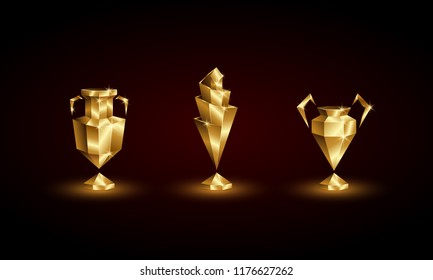 Golden Low Poly Soccer Cups Set. Abstract Polygonal 3D Football Trophy of Euro, Champions, Nations League.
