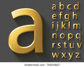 Golden luxury 3D alphabet: lowercase English letters. Metallic font on gray background. Good font for wealth and jewel concepts. ABC letters with transparent shadow, EPS 10 vector illustration.