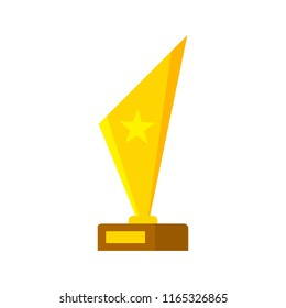 Golden luxury award with star on it. Sport game champion or winner prize. Idea of victory and success. Isolated flat vector illustration