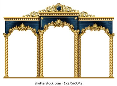 Golden luxury classic arch with columns. The portal in Baroque style. The entrance to the fairy Palace