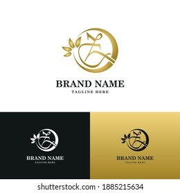Golden Luxury Initial letter Z on circle leaves for cosmetic, restaurant, boutique, hotel logo concept vector