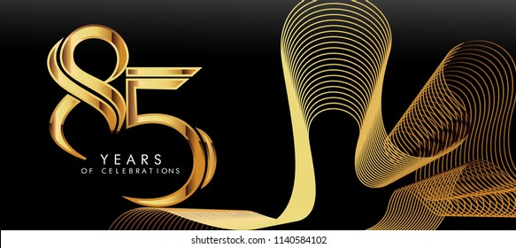 golden luxury Numbers and Characters. 85th anniversary, Golden metallic shiny bold symbols on black background. EPS 10 vector illustration.