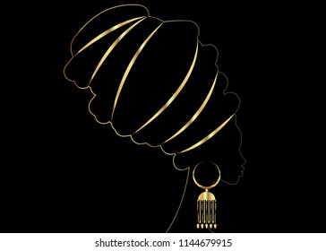 Golden luxury portrait beautiful African woman in traditional turban, Kente head wrap African, Traditional dashiki printing, black women vector gold silhouette isolated with traditional gold earrings