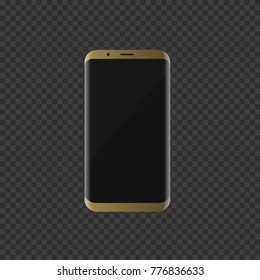 Golden luxury smartphone without frames screen. Vector illustration