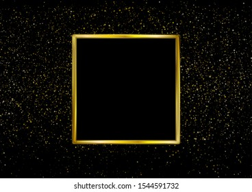Golden luxury square frame and shiny glowing bokeh lights graphic design. Sparkling confetti background. Vector Christmas illustration