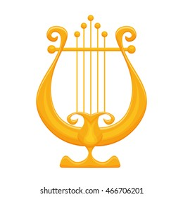 Golden Lyre vector illustration isolated on a white background