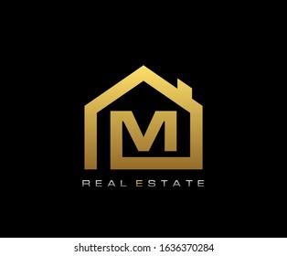 Golden M House Logo Design, Real Estate Icon.
