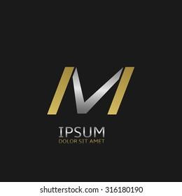 Golden M and silver V letters monogram logo