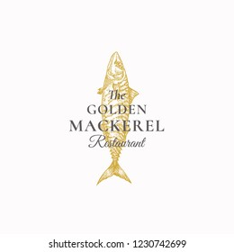 The Golden Mackerel Restaurant Abstract Vector Sign, Symbol or Logo Template. Elegant Mackerel Fish Drawing Sketch with Classy Retro Typography. Vintage Luxury Emblem. Isolated.