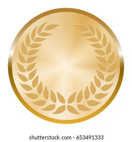 Golden madal with laurel wreath on white background.