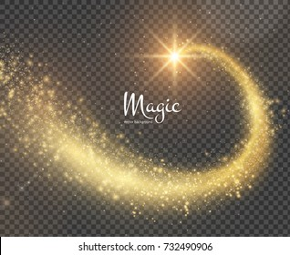 Golden magic star with glitterring dust trail, can be used for Christmas backgrounds, checkered background. vector EPS10.