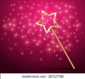 Golden magic wand on pink sparkle background, illustration.