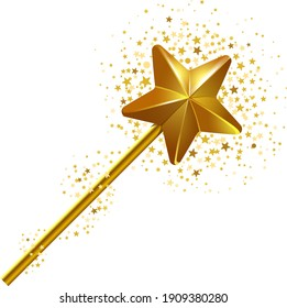 Golden magic wand with a stars cloud around it. Vector illustration isolated on white background