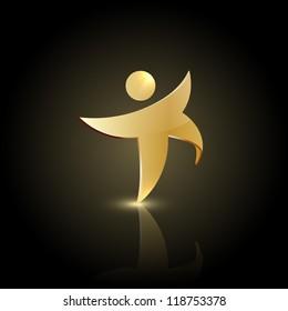 Golden man symbol. Winner icon logo.
