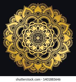 Golden mandala design. Ethnic round ornament. Hand drawn indian motif. Mehendi meditation yoga henna theme. Unique golden floral print.