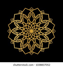 Golden mandala on a black background . Oriental ornament, circular pattern.