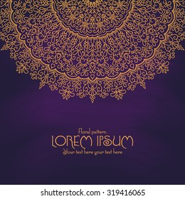 Golden mandala pattern design template. Vintage ethnic background frame. Vector illustration.