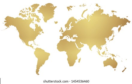 golden map of the world isolated on white background