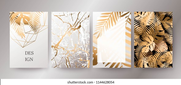 Golden marble texture and gold palm leaves card design. Modern exotic brochure, banner cover template.
