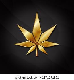 golden marijuana leaves, isolated black background