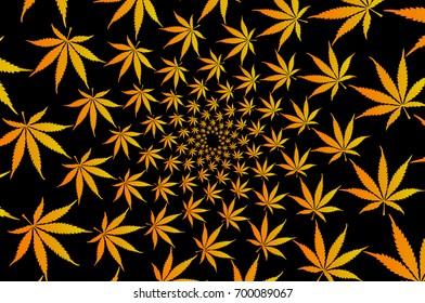 Golden marijuana leaves - vector pattern , Cannabis plant background ,