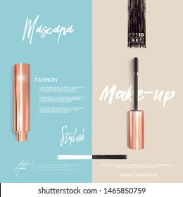 Golden mascara make-up booklet or brochure background. Brush and mascara tube. Black wand and golden tube on light pink and light blue background. Fashionable cosmetics Make up design for Eyes.