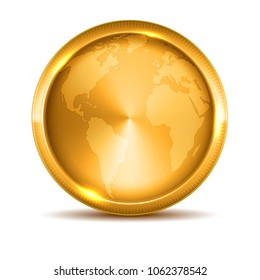 Golden medal. Gold vector badge. Isolated  modern illustration Symbol rich wealth hidden treasures riches goldshine world map frame empty clean copyspace background logo realistic gift present