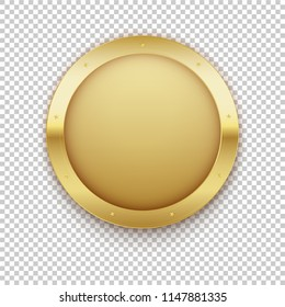 Golden medal. Gold vector badge. Isolated on transparent background  modern illustration. Symbol rich empty hidden treasures goldshine dazzling blinding frame empty clean  logo realistic gift present