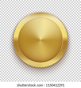 Golden medal. Gold vector badge. Isolated  modern illustration Symbol rich wealth hidden treasures riches goldshine frame empty clean copyspace transparent background logo realistic gift present