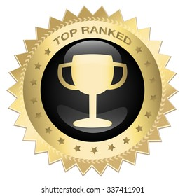 Golden medal or icon with award symbol. Top ranked seal. Glossy gold and black icon.