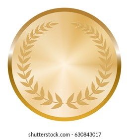 Golden medal with laurel wreath on white background.
