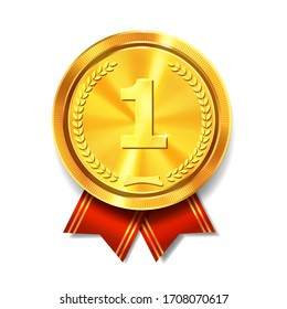 Golden medal with red ribbon. First place gold award. Champion and winner symbol vector realistic Illustration