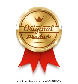 Golden medal. Vector illustration. Original product