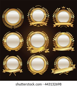Golden medallion with laurel wreath collection