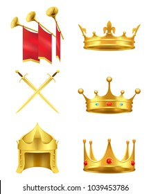 Golden medieval symbols 3d icons set. Gold crowns with gems, knight helmet, crossed shiny swords and trumpets with flags realistic vector isolated on white background