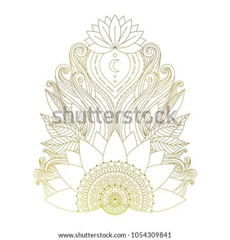 Golden Mehendi Element Lotus Flowers Leaves Stock Vector Royalty