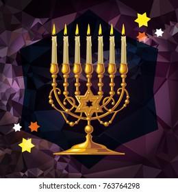 Golden menorah on a mosaic background. Vector clip art.