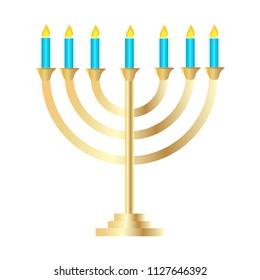 Golden Menorah Symbol of Judaism Vector