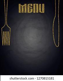 Golden menu of restaurant on black chalkboard background. Vector illustration