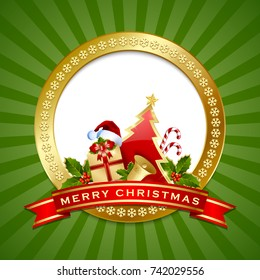 Golden Merry Christmas plaque with tree, present, Santa hat, bell, candy cane, holly and ribbon decoration