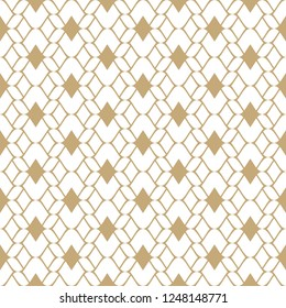 Golden mesh seamless pattern. Subtle vector abstract geometric ornament texture with thin curved lines, delicate mesh, net, grid, lattice, lace. Gold and white luxury background. Repeatable design