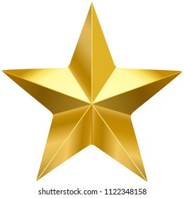 Golden metal 3d star, isolated yellow object on white background
