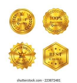 Golden metal badges isolated on white background. Best quality, best choice, warranty