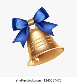 Golden metal bell with blue bow isolated on a white background, Christmas symbol, school bell, vintage bell. 3D effect. Vector illustration. EPS10