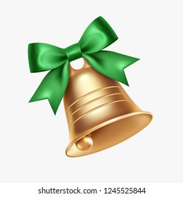 Golden metal bell with green bow isolated on a white background, Christmas symbol, school bell, vintage bell. 3D effect. Vector illustration. EPS10