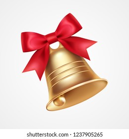 Golden metal bell with red bow isolated on a white background, Christmas symbol, school bell, vintage bell. 3D effect. Vector illustration. EPS10